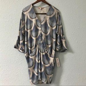NWT Mara Hoffman 100% silk jersey bloussant dress